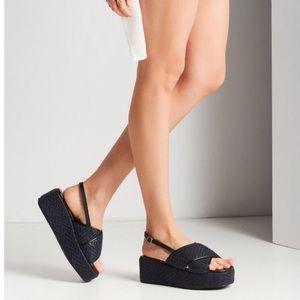 urban outfitters blue vera woven platform  sandal